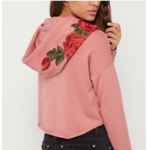 Dusty Pink Rose Embroidered Cropped Hoodie